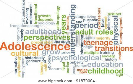Background concept wordcloud illustration of adolescence