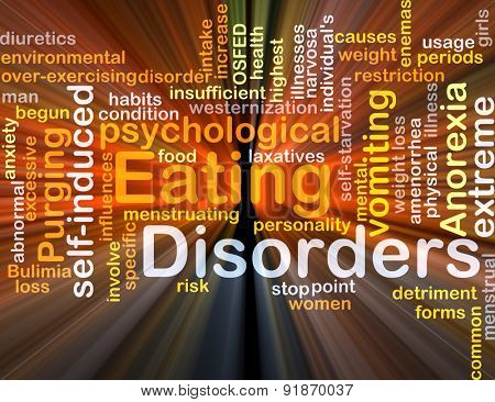 Background concept wordcloud illustration of eating disorders glowing light