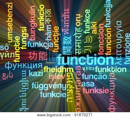 Background concept wordcloud multilanguage international many language illustration of function glowing light