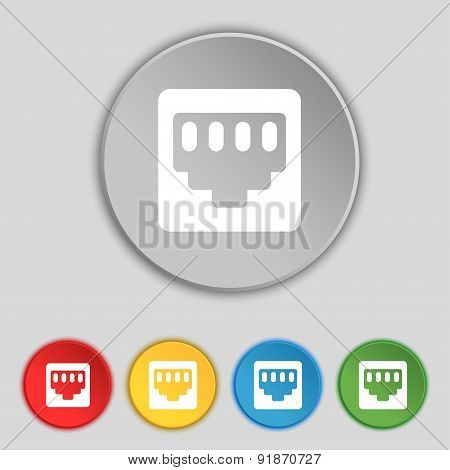 Cable Rj45, Patch Cord Icon Sign. Symbol On Five Flat Buttons. Vector