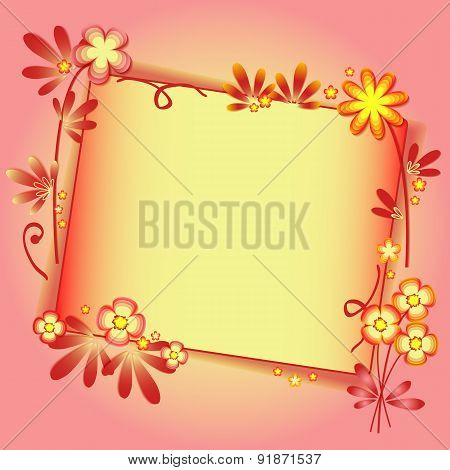 Background With Floral Ornament And Label In Peach Color