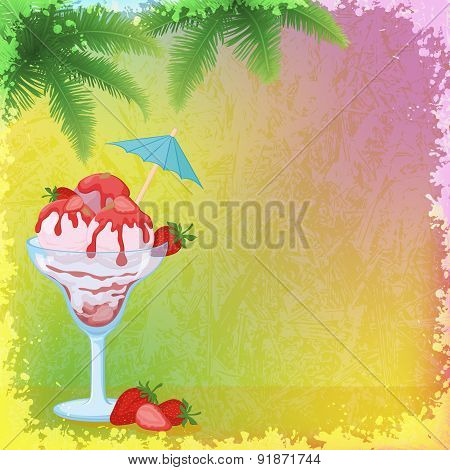 Ice Cream, Strawberries and Palm Branches