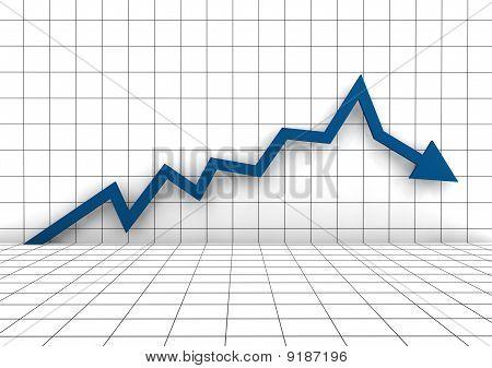 azul de negócios 3D gráfico seta para baixo