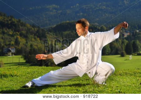 Tai Chi Exercise In Nature On Green Field