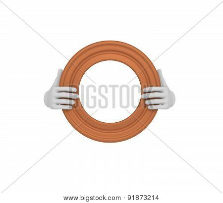Two Hands Holding A Brown Circle Picture Frame. 3D. Isolated.