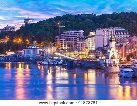 Evening scenery of Kyiv, Ukraine