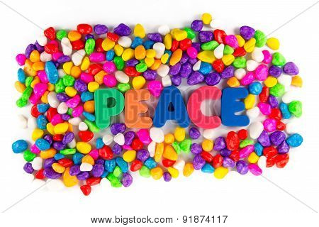 Peace Word In Colorful Stone