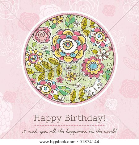 Pink Birthday Card With Big Round Of Spring Flowers,  Vector