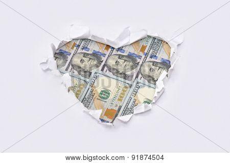 Heart Made of Dollar Bills