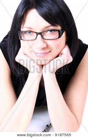 Young Beautiful Smiling Woman With Glasses