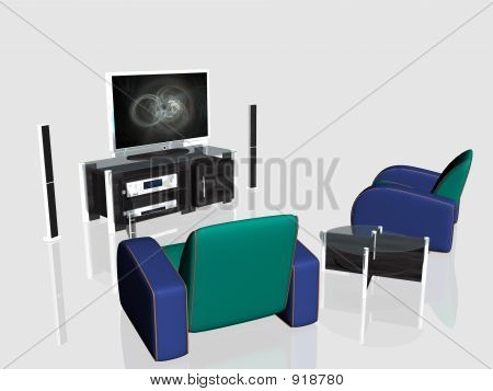 Media Center, Plasma Screen In Living Room