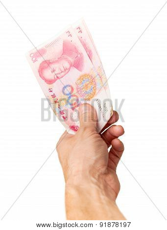 Chinese 100 Yuan Renminbi Banknotes In Male Hand
