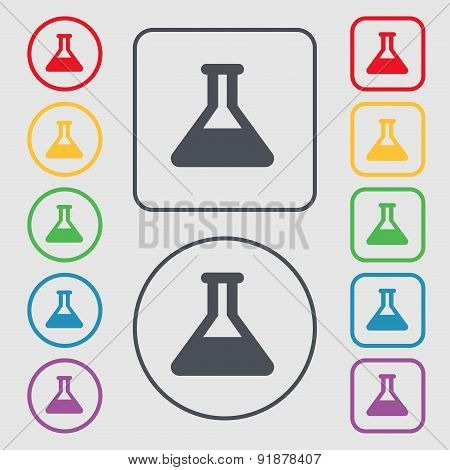 Conical Flask Icon Sign. Symbol On The Round And Square Buttons With Frame. Vector