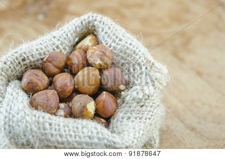 Hazelnuts In A Vintage Bag