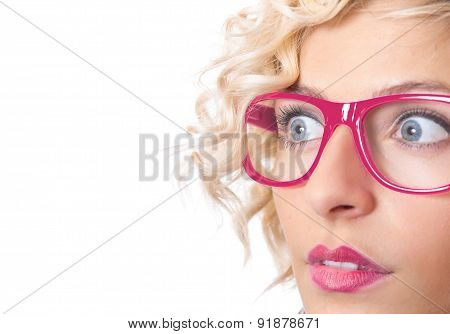 Girl Looking At Something Interesting, Close Up Of A Worried Woman Wearing Eyeglasses