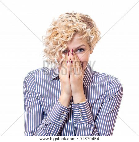 Young Woman Covered Own Face With Their Hands, Isolated On White Background. Young Female Be Ashamed