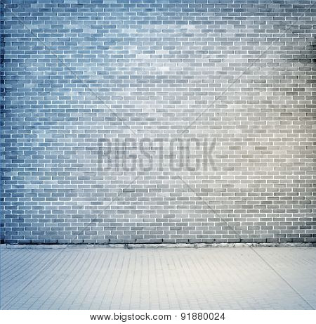 Blue, Grey Brick Wall Texture With Sidewalk. Vector Illustration