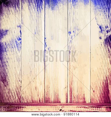 Old colorful painted wooden planks texture with shelf for books, kitchen utensils and other items. V