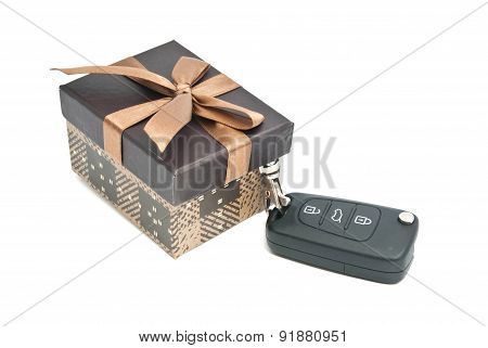 Brown Gift Box And Keys On White