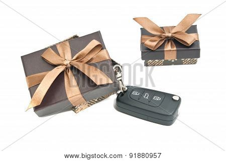 Two Brown Gift Boxes And Keys