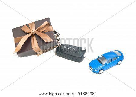 Brown Gift Box, Car And Keys