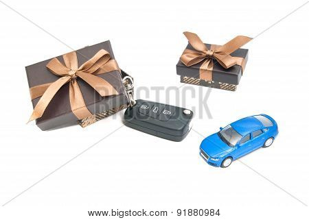 Two Brown Gift Boxes, Car And Keys