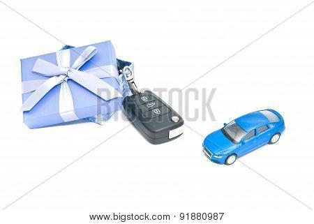 Gift Box, Blue Car And Keys
