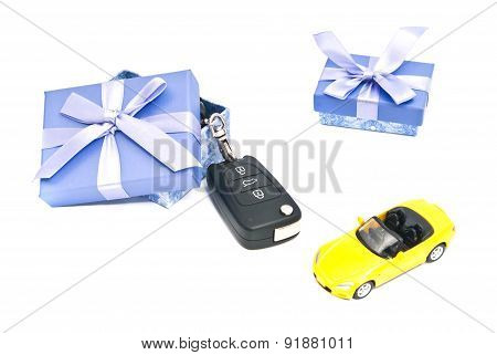 Two Gift Boxes, Sport Car And Keys