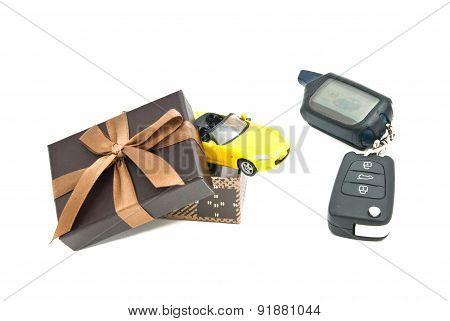 Sport Car, Keys And Brown Gift Box