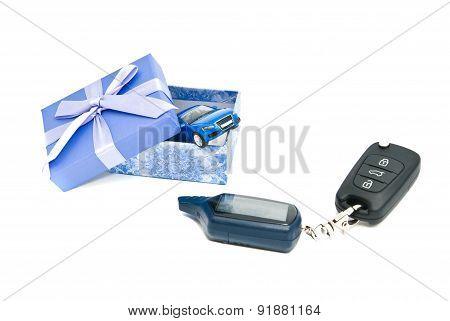 Keys, Blue Car And Blue Gift Box