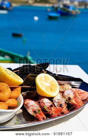 Seafood platter served in scenic restaurant