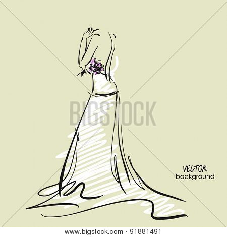 art sketch #11 of beautiful young  bride in white dress with the bride's bouquet. Vector background with space for text.