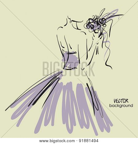 art sketch #8 of beautiful young  bride in lilac dress with the bride's bouquet. Vector background with space for text.