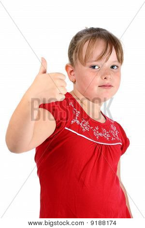 Small girl showing thumbs up gesture isolated on white