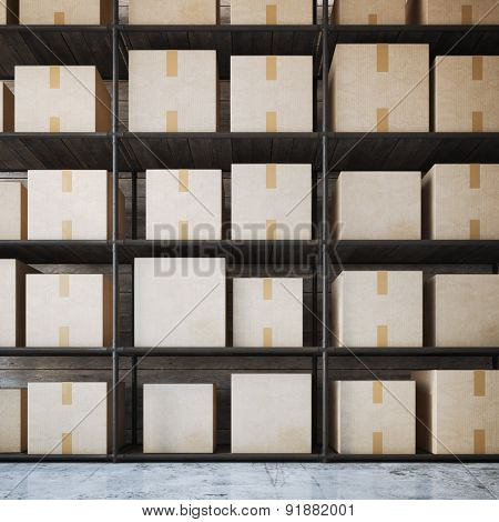 Warehouse shelves with boxes. 3d rendering