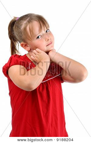 Small girl touching her neck isolated on white