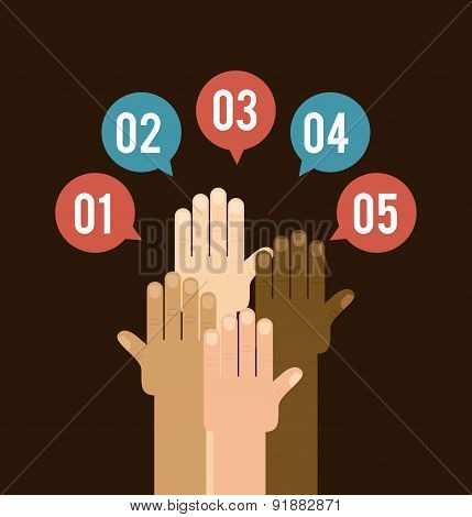 Teamwork design over brown background vector illustration