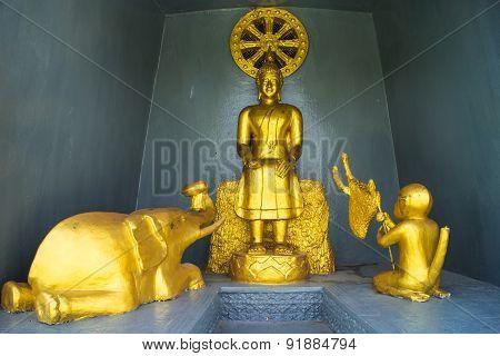 the sitting gold buddha statue