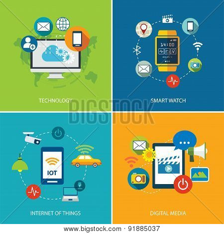 Set Of  Technology,internet Of Things, And Digital Media