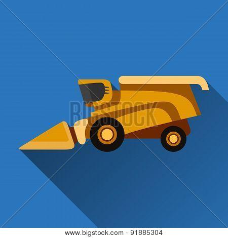 Combine Harvester Flat Icon