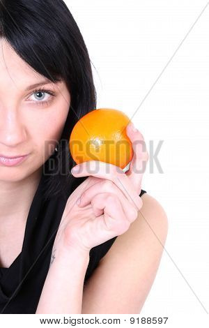 Smiling Girl In Black With Orange