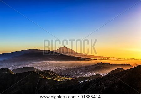Evening Sunset In Mountains And Teide Volcano