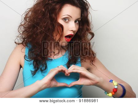 Young beautiful woman, expression and happy