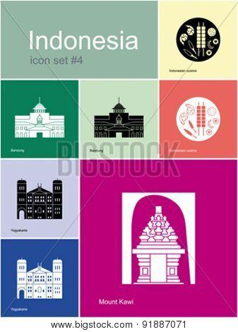 Landmarks of Indonesia. Set of color icons in Metro style. Editable vector illustration.
