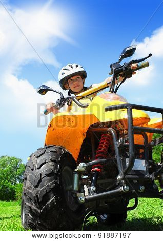 Child Girl Rides On Quad