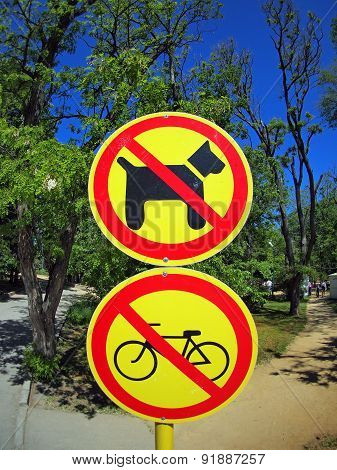 Prohibiting Signs No-dogs And No-bikes Close-up