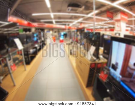 Defocused And Blur Image Of A Shop Selling Household Appliances