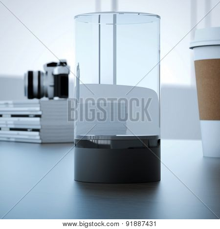 Empty glass showcase on wooden table