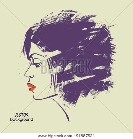art sketched vector of girl face symbols in profile with short grunge hair