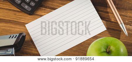 Overhead shot of flashcard on students desk